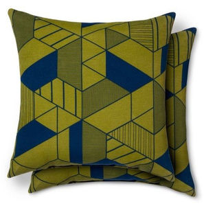 Set of 2 Indoor/Outdoor Green & Navy Patio Pillows